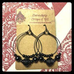 Fashion Earrings - Black Meta NWT